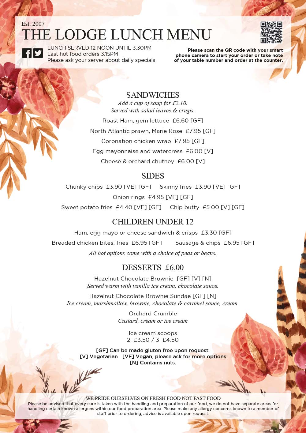 Autumn 21 Lunch Menu page 1
